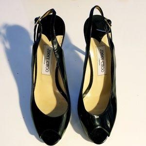 Jimmy Choo strappy black high heels